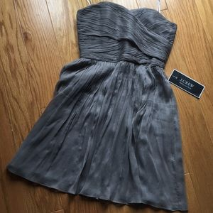 J. Crew grey strapless party dress NWT